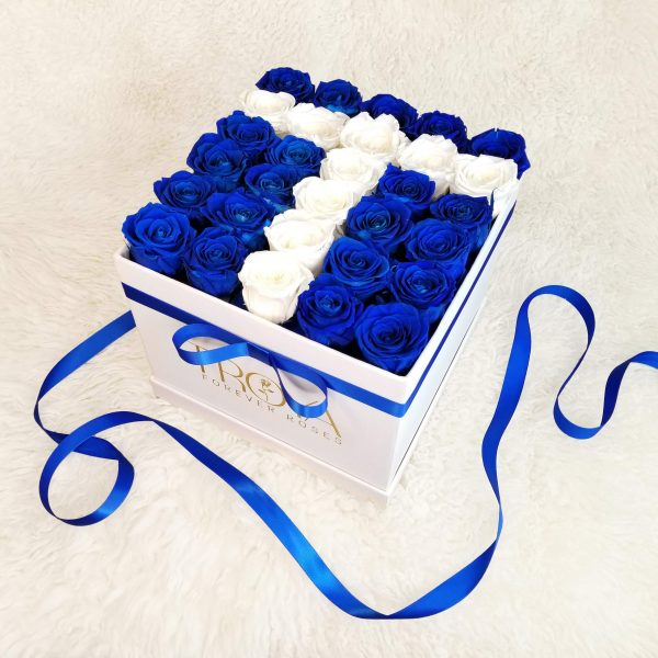 Blue and White Forever Roses in a Box