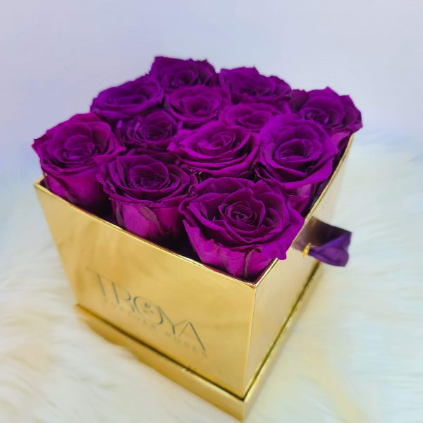 Purple Forever Roses in a Gold Box