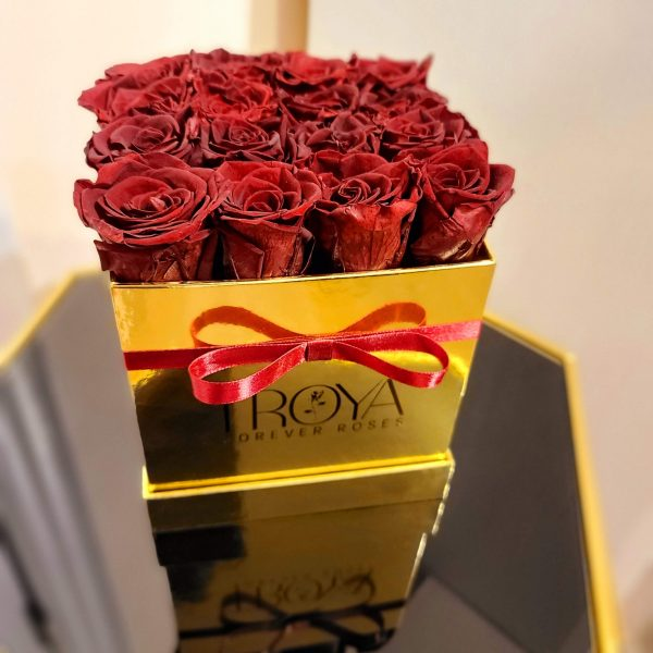 Maroon Forever Roses in a Gold Box