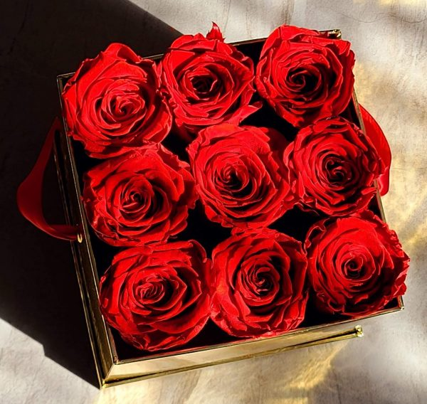Red Forever Roses in a Box