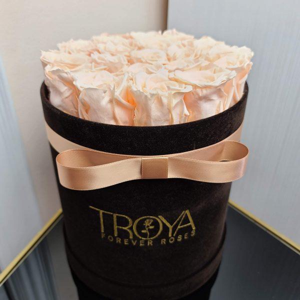 Peach Forever Roses in an Elegant Box