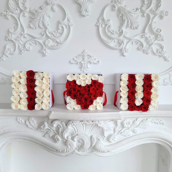 3 large square boxes with forever roses
