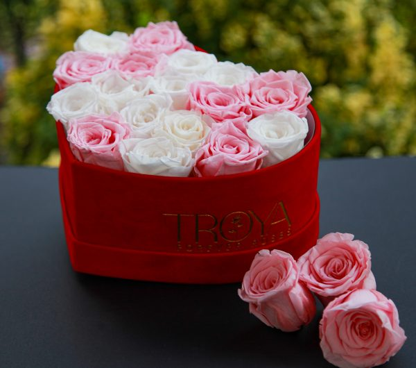 White & pink roses in heart box