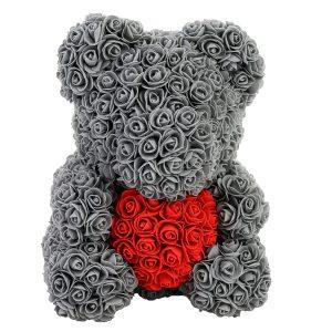 Gray Rose bear with a heart