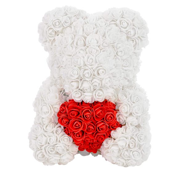 White rose bear with a Heart