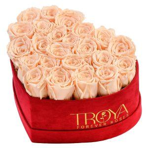 Heart box Peach forever Roses