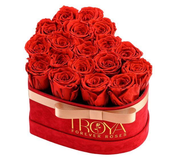 Heart box Red forever Roses