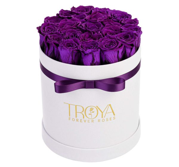 Purple Roses that last a year in a White box