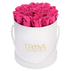 Pink Roses that last a year in a White box