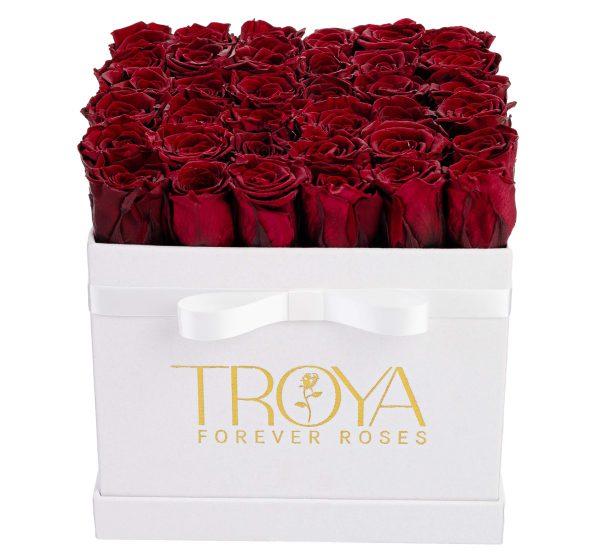 Dark red forever roses box