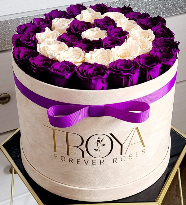 Beige Box with champagne & purple forever roses
