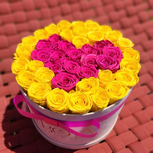 Beige Box with yellow & hot pink heart forever roses