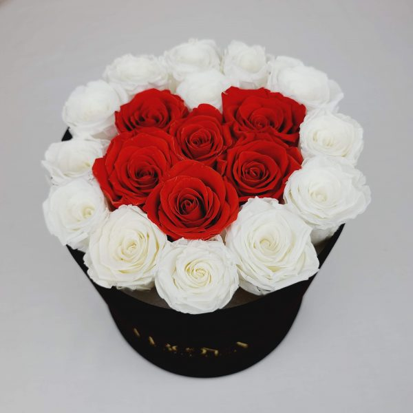 Black Box with White and Red Forever Roses