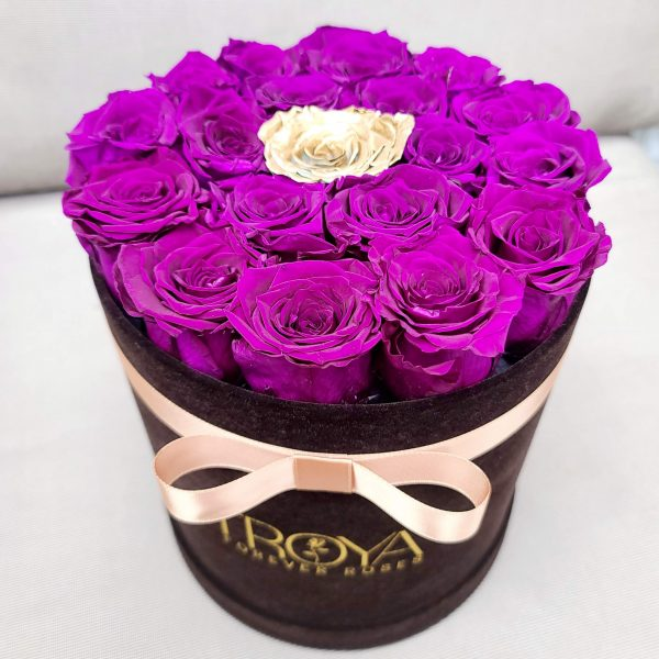 Black round Box with purple & one gold forever roses