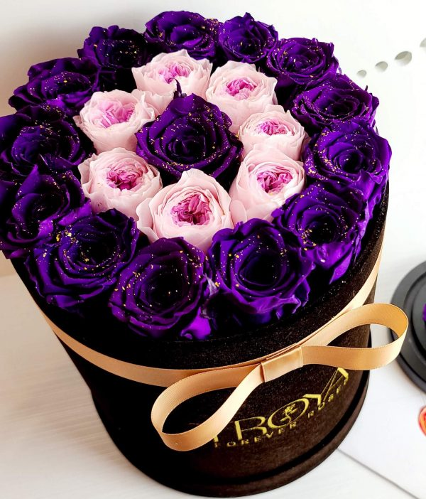 Black round box with purple forever roses & pink peonies