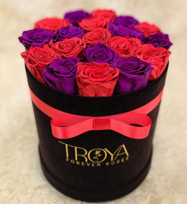 Black round box with red & purple forever roses