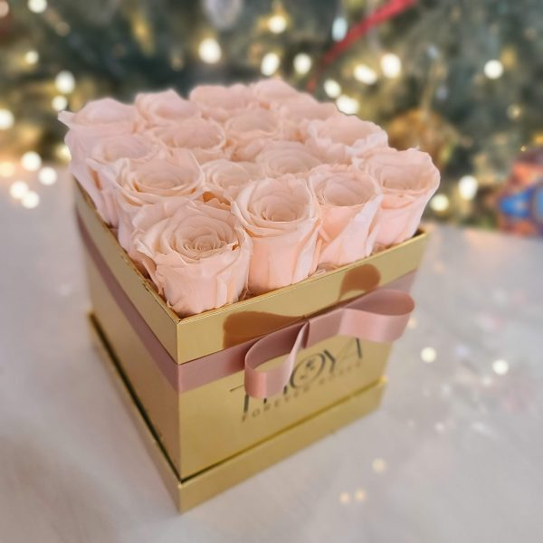 Champagne Forever roses in a gold box