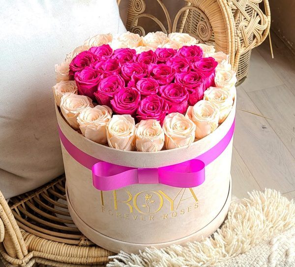 Custom beige box with Champagne & Pink forever roses