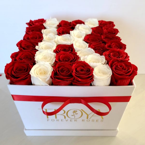 white & red forever roses in a white box