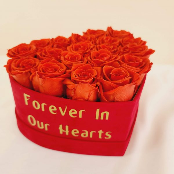 Heart Forever Roses Box with custom text