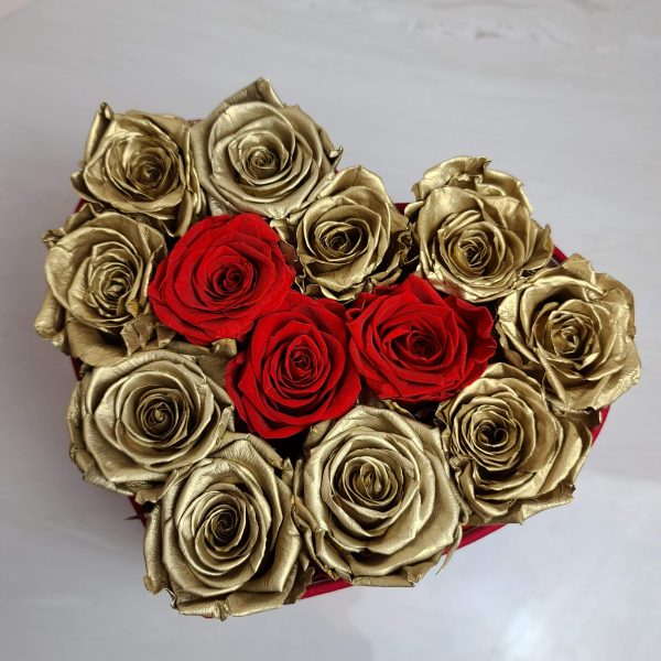 Gold and Red Forever Rose in a heard box