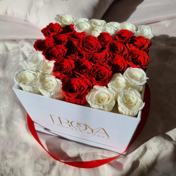 Large square box with roses heart inside