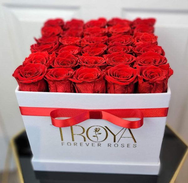 Large square box with red forever roses