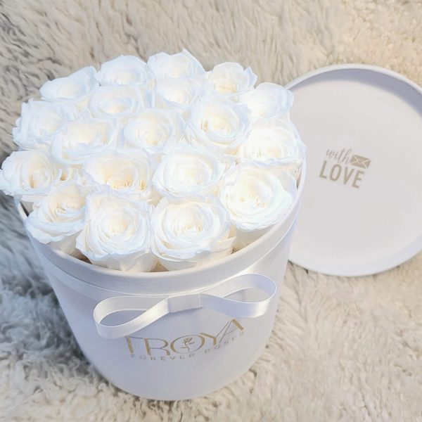 White Forever Roses in a Box