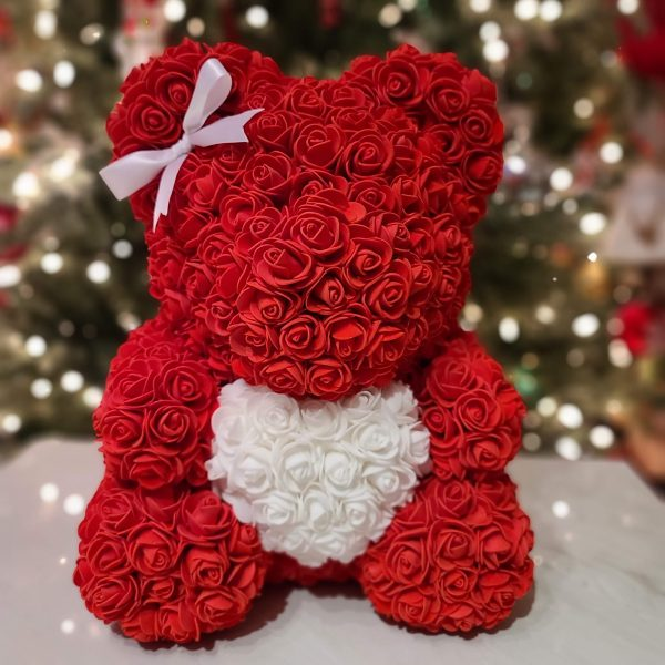 Red rose bear with a bow
