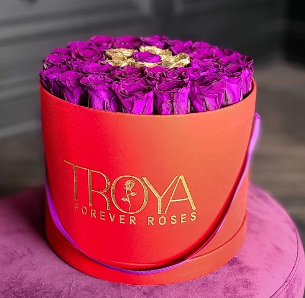 Red Box with purple & gold eternity roses