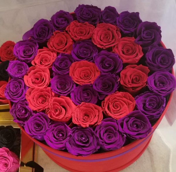 Red Box with red & purple forever roses