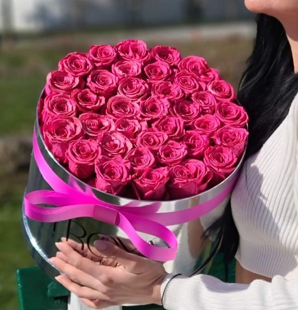 Silver Box with hot pink forever roses