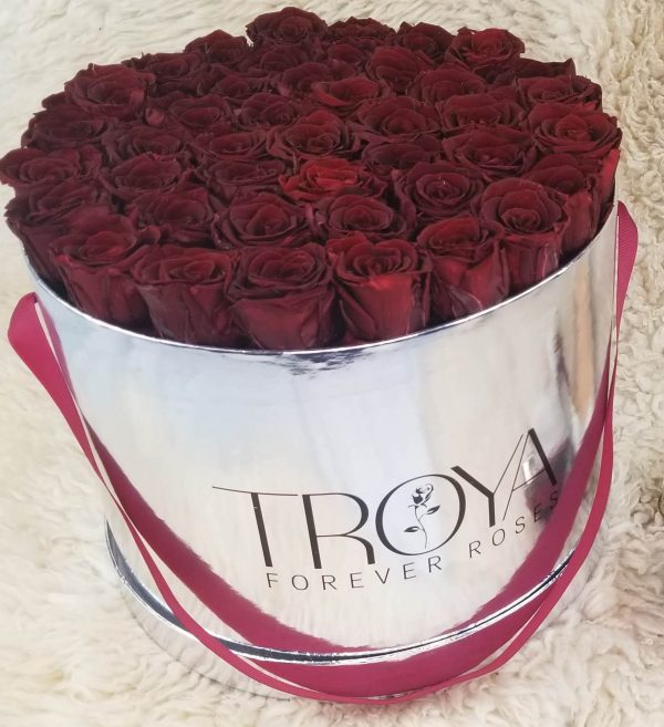 Silver Box with maroon forever roses