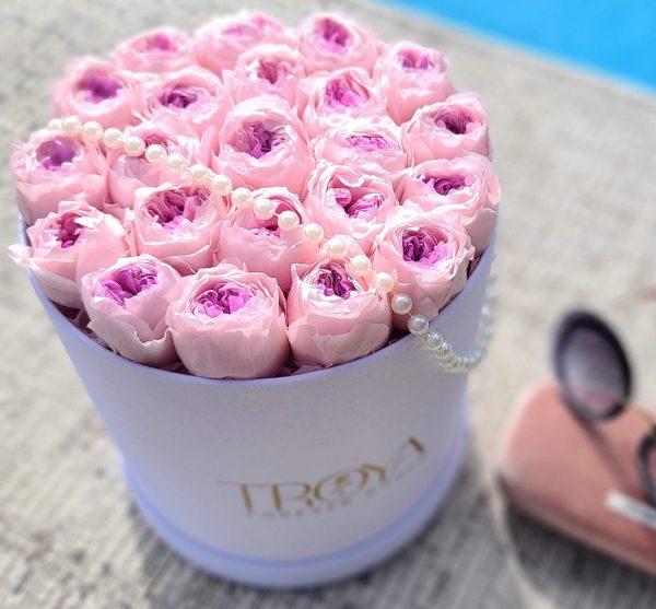 White round Box with Pink & Purple peonies