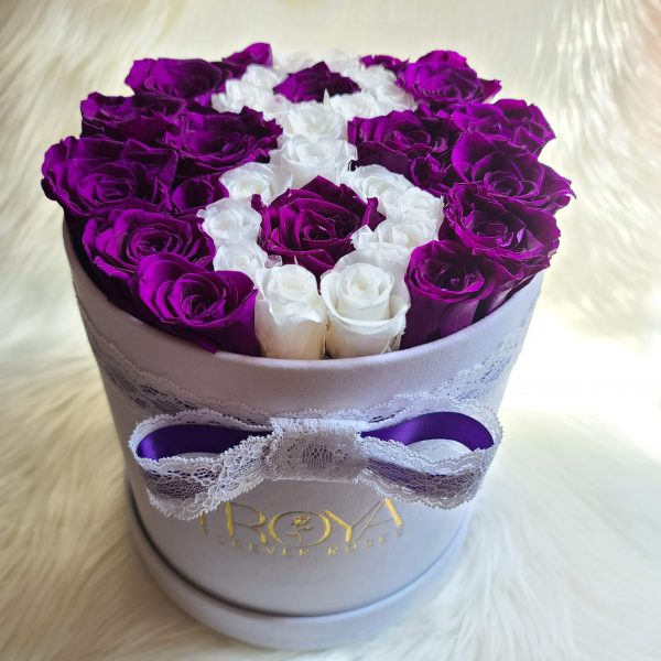 White round Box with purple forever roses & white 8 in middle