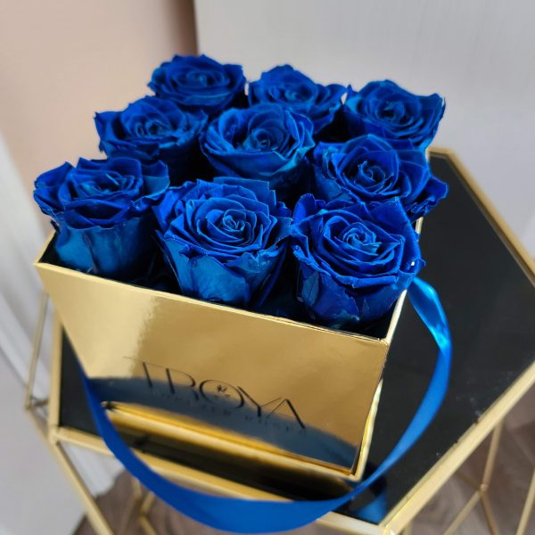 Blue Forever Roses in a Gold Box