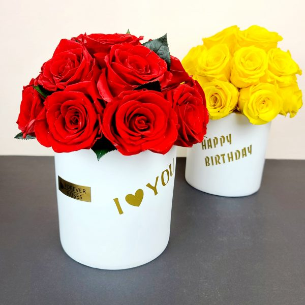 Red and Yellow Forever Roses in a Box