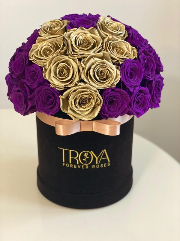 Gold and Purple Forever Roses in a Box