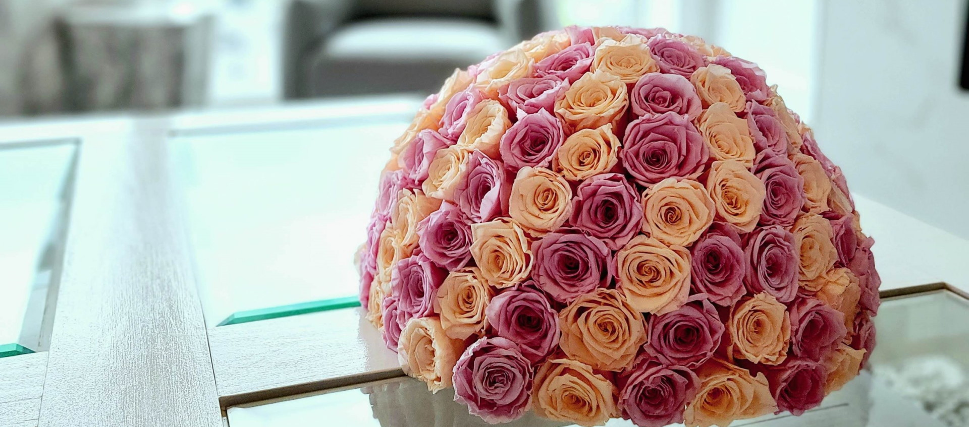 Pink and Peach Forever Roses - El Luna