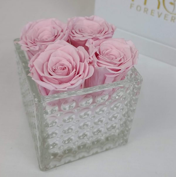 Crystal Box with Brigth Pink Forever Roses
