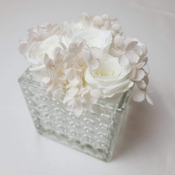 Crystal Box with White Forever Flowers